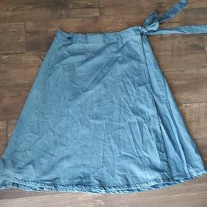 Chambray wrap skirt